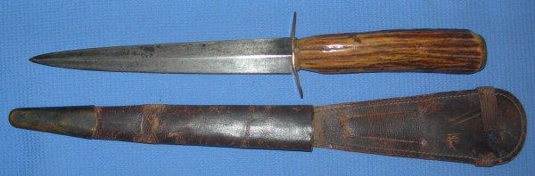 WW2 era Fairbairn Sykes Fighting Knife 3rd Patt, Antler Horn Grip