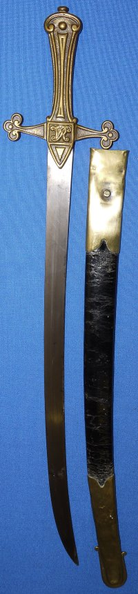 Rare 1856 Pattern Royal Marines or Mounted Drummer's Sword with curved blade
