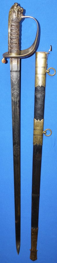 Victorian British RN Claymore Blade Sword of later Admiral / Sir S C J Colville