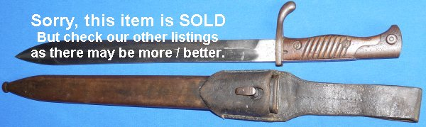 WW1 1898/05 Erfurt German Bayonet, Scabbard and Frog