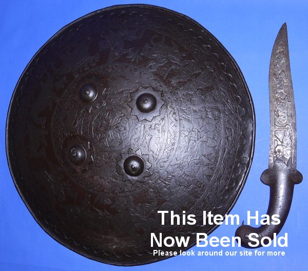 19c Indian Dhal Shield with Chhuri Didkhami Dagger, Sold