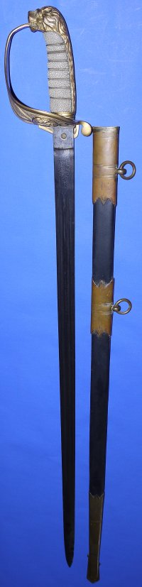 Victorian British Claymore Royal Navy Officer's Sword, Gillott & Hassell