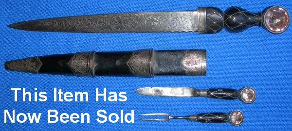 Victorian Scottish Young Man's Dirk, engraved blade