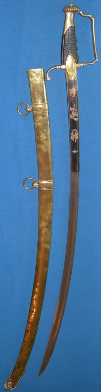 Napoleonic French Blue & Gilt Cavalry Officer's Sword, Probable War Trophy