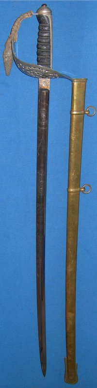 1897P Edwardian British Infantry Officer's Sword, Victorian Blade, Initialed & Crest