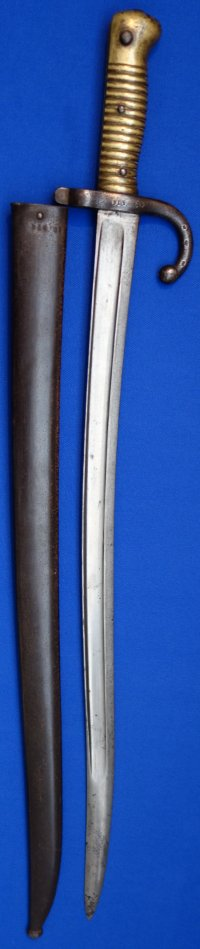 French 1866M Chassepot Yataghan sword bayonet, matching no's, St Etienne 1874