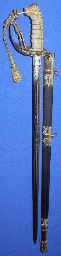 Mid-Victorian Claymore Bladed Royal Navy Officer's Sword