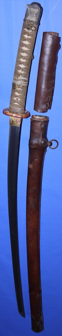 WW2 Japanese Army Officer's Shin Gunto in full leather combat covers
