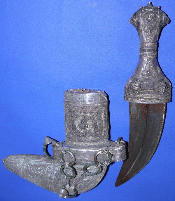 19th Century 92%+ Silver Omani Jambiya