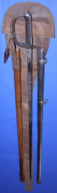 George V (dated 1911) British Cambridge Rifles Presentation Sword, 2 Scabbards