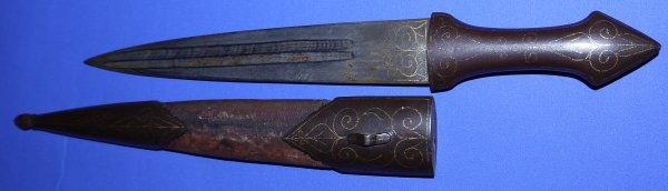 19C Caucasian Qama Knife / Dagger with Fine Gold Inlay