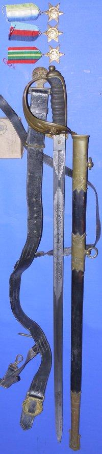 WW2 British Royal Naval Lieutenant's Sword, Belt & Medals