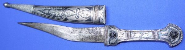 19th / 20th Century Silver Niello Russian Khanjali Dagger