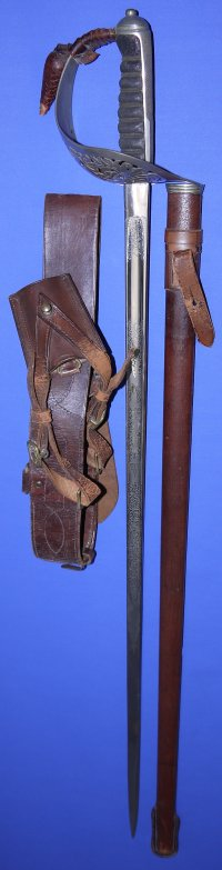 WW2 British Recce (Reconnaissance) Corps Named Officer's Sword, Scabbard & Belts