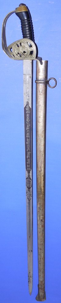 WW1 era Prussian / German Well / Blue Etched Cavalry Sword
