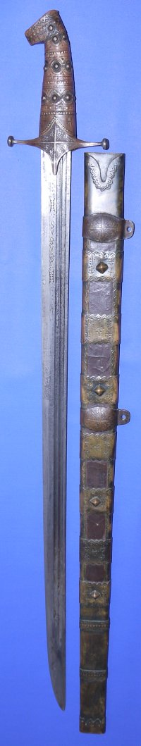 "Early 19C Armenian / Caucasian ""Damascus"" Bladed Saif"