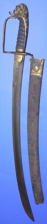 Napoleonic British Infantry Officer's Lions Head Sword
